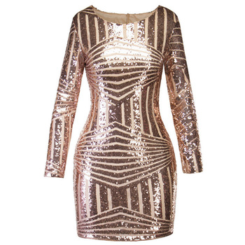 Women Sexy Party Club Dress Plus Size summer Long Sleeve Backless Shine Sequined Evening Bodycon Dresses
