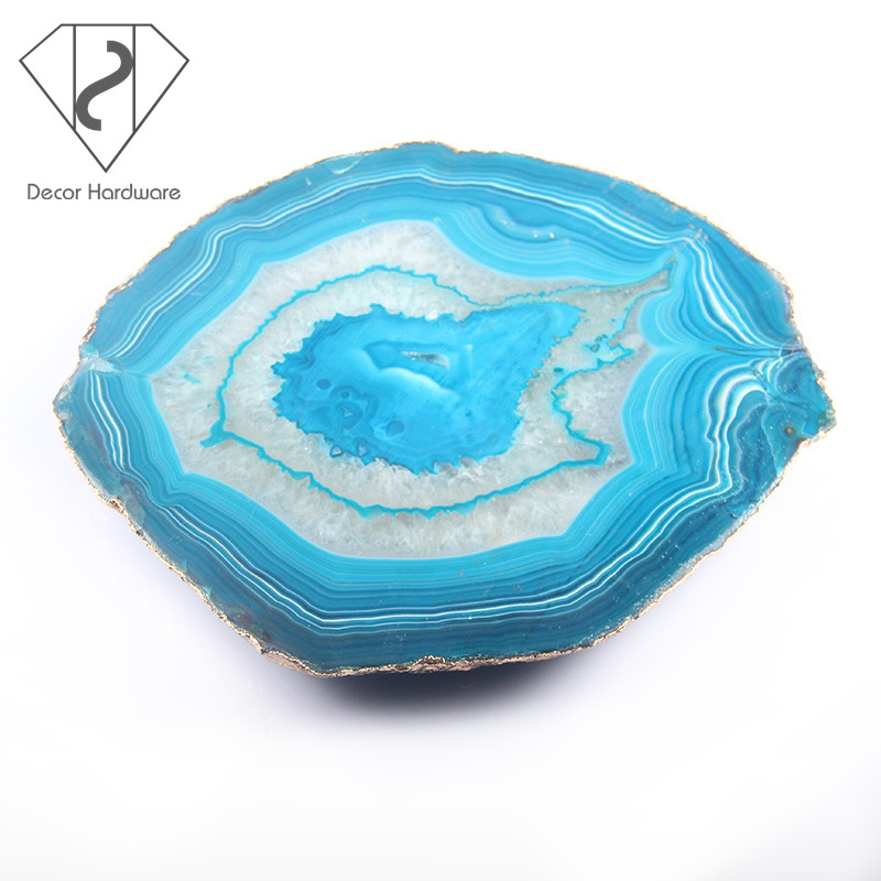 Wholesale agate tray, blue agate slices with gold trim, polished agate for wedding decoration