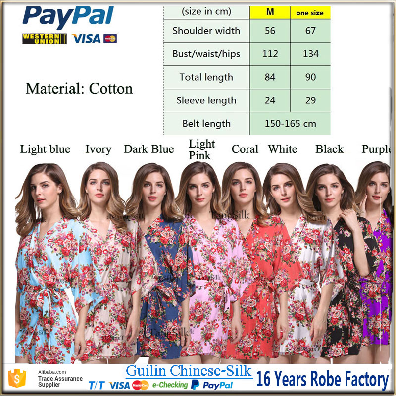 Manufacturer wholesale knee length cotton floral bridesmaid robe for wedding party