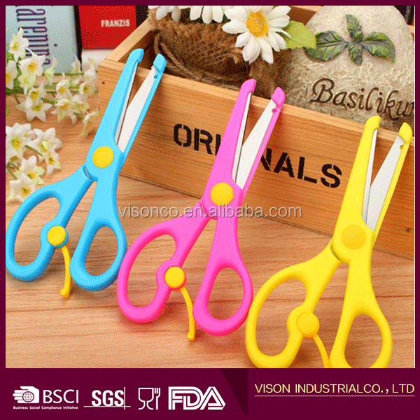 Plastic Safety student scissors Lovely Children Hand Cartoon Scissors