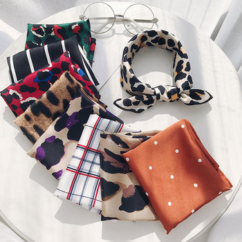 New Women Fashion Scarves Accessories Leopard Point Printed Stripe Checked Silk Square Scarf