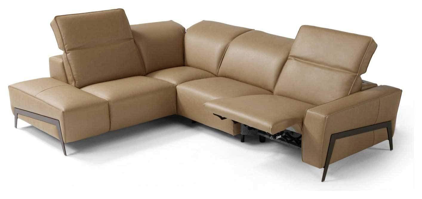 J&M Furniture Ocean Italian Leather Left Facing Sectional Sofa in Miele