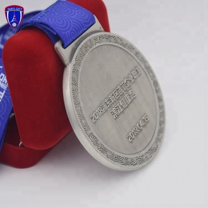 Factory custom free sample finisher antique silver medal trophy cup for marathon run sport award