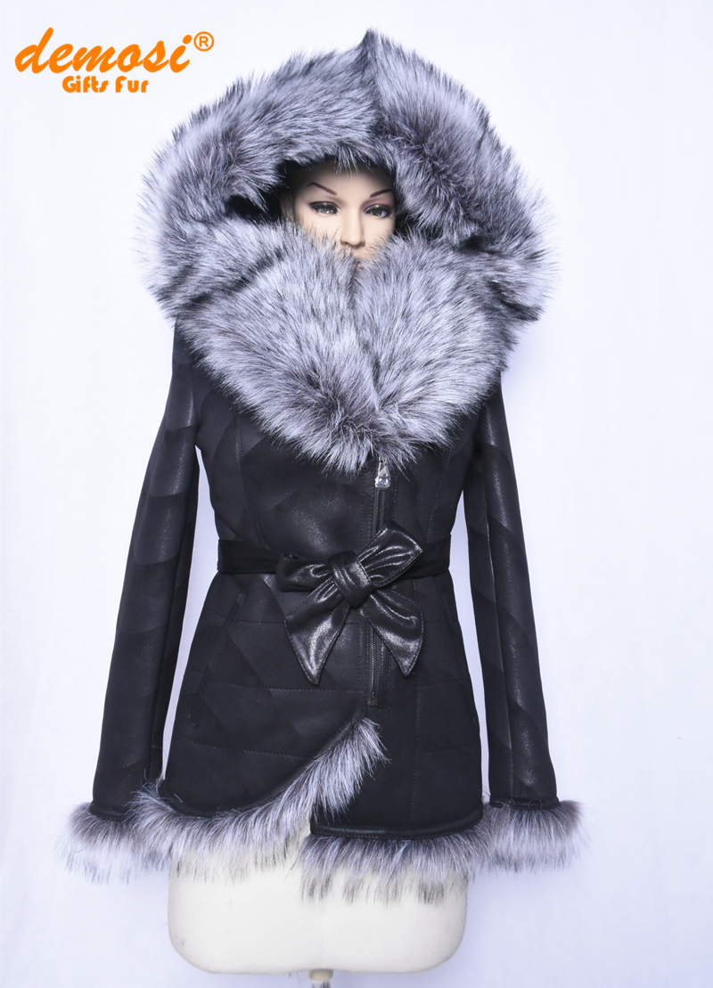 0813419fdcc1b Get Quotations · Factory direct supplier fox collar fashion printing Slim  suede hooded thick winter 2015 women s natural coats