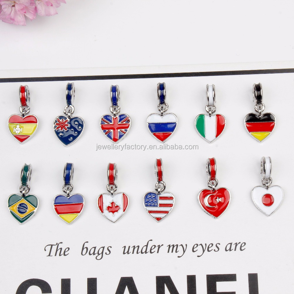 Heart Shape United States Italy Germany Brazil United Kingdom Flag Big Hole Charm Pendants DIY Silvering Beads Oil-drip Pendant