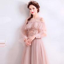 Женское вечернее платье It's YiiYa, длинное ТРАПЕЦИЕВИДНОЕ ПЛАТЬЕ с круглым вырезом, длинными рукавами и бусинами на заказ, большие размеры, 2019(Китай)