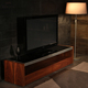 Modern Design New Model I Shaped Wooden Veneer Bench Tv Cabinet With Showcase