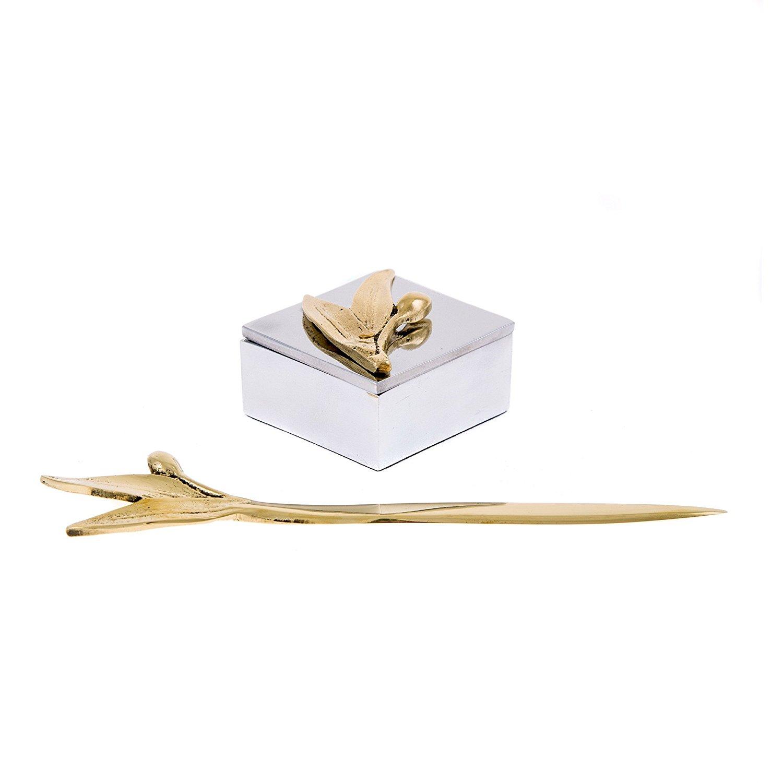 Luxury Handmade Solid Metal Desk Accessories Set of 2, Golden Olive Branch Design - Decorative Storage Box & Envelope Slitter or Letter Opener