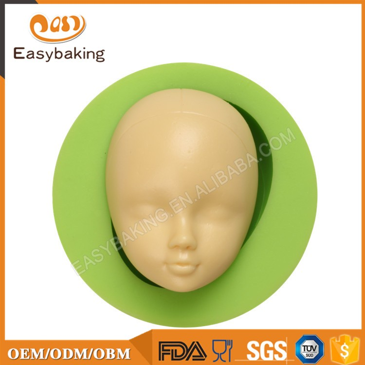 ES-1607-1Baby Doll Head Face Silicone Flexible Mold Clay Cake Soap