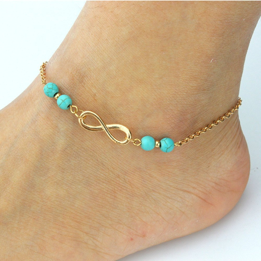 HUSUP&reg: Contracted Turquoise Bead Anklet With Infinity Anklet
