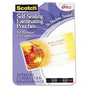 Scotch : Self-Sealing Laminating Pouches, 9.6 mils, 2-7/16 x 3-7/8, 25/Pk -:- Sold as 2 Packs of - 25 - / - Total of 50 Each