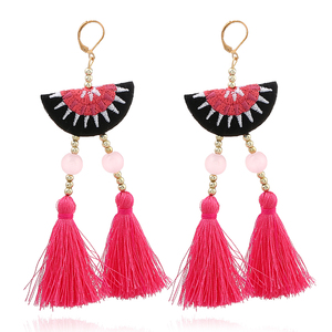 YWMT 2018 Fashion Jewelry Wholesale Acrylic Beads Semi Circle Embroid Double Tassel Earrings For Women