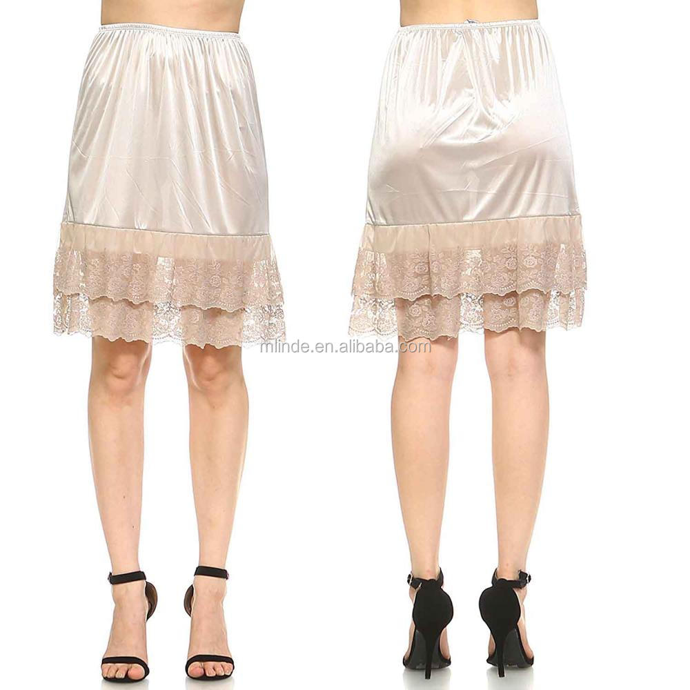Double Layered Satin Lace Skirt Extender / Half Slip