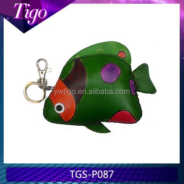 wholesale genuine leather fish shaped purse