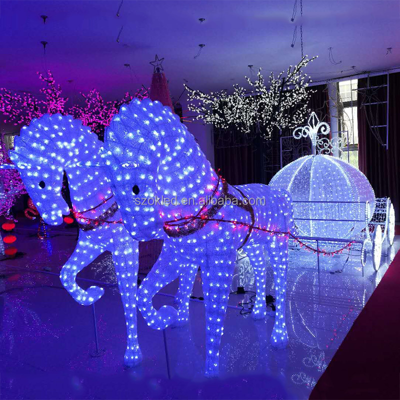 LED Horses with Pumpkin Carriage Cinderella Story New Christmas Decoration 2017