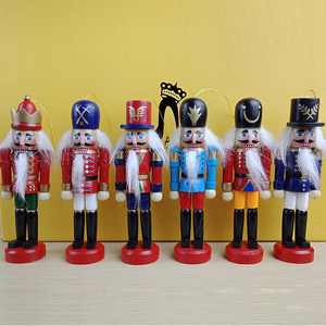 6pcs Creative Nutcracker Puppet Desktop Decoration 13cm Wood Made Christmas Ornaments Drawing Walnuts Soldiers
