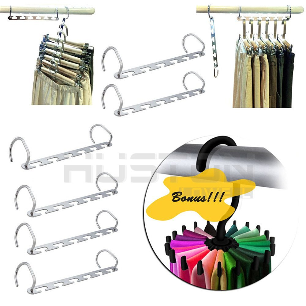 Get Quotations · Wonderpark   Set Of 6 Space Saving Hanger Magic Coat  Clothes Hanger With Hook Closet Organizer