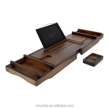 Royal Dark Bamboo Wood Bathtub Caddy Tray With Extending Side Racks And  Wine Glass Holder,