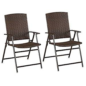 Get Quotations · Barrington Wicker Bistro Folding Chairs In Brown (Set Of 2)