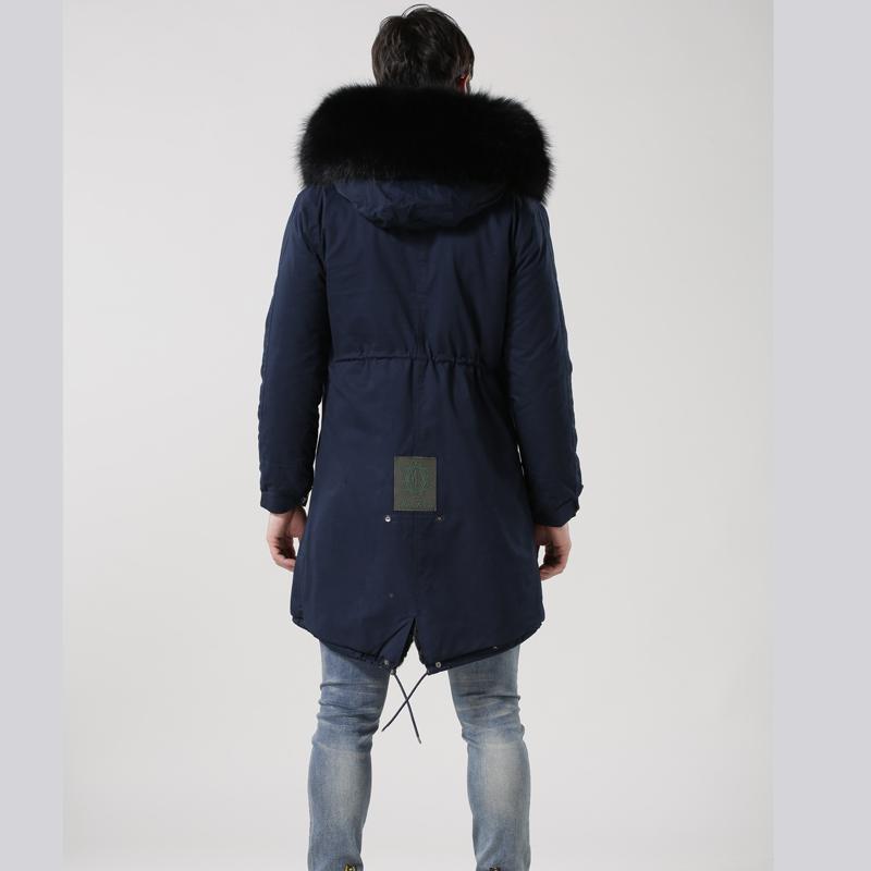 114a24e917 Long Length Mens Fashion Navy Parka Shell Black Fake Fur Lined Mens Long  Navy Parka