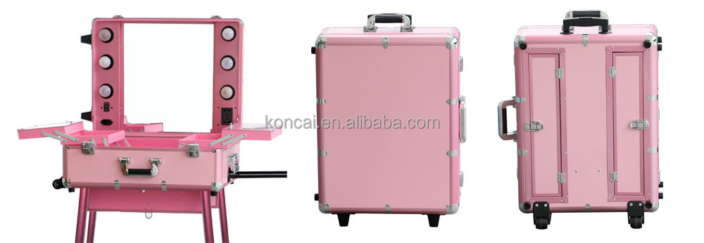 MOQ:1pc , Mobile Professional Portable Aluminum makeup case with lights /rolling trolley makeup train case with stands 9