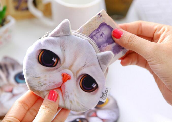 Fancy cartoon 3d vivid cat face pouch wallet promotional mini cute purse small cotton plush animal shape handbag euro coin purse