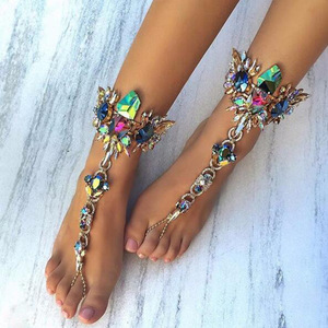 Wholesale Fashion Anklet Body Jewelry 2017 Summer Beach Barefoot Sandals Anklets Bracelet Colorful Crystal Anklets For Women