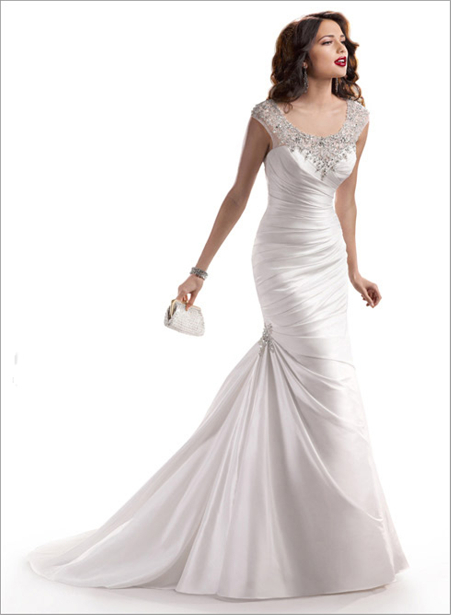 Sexy mermaid crystal beaded wedding dresses with pleating 2015 scoop ivory/white formal bride dress robe de mariage TD_107