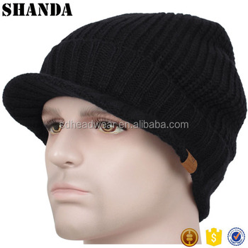 Men Winter Baggy Crochet Visor Brim Beanie Cap Women Black Knit Skull Ski  Hat d83564de820e
