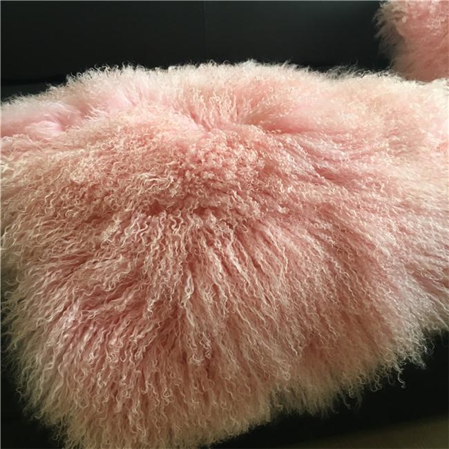 Natural color real mongolian lamb fur blanket