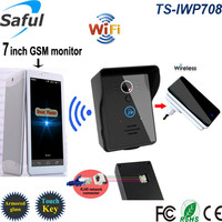 "High definition 7"" touch screen 3g wireless gsm video doorbell intercom system with function of android/ios app"
