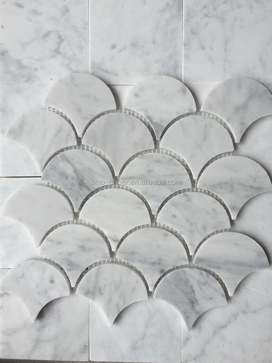 carrara wei en italienischen carrara marmor medium fan shaped fischschuppen mosaik fliesen buy. Black Bedroom Furniture Sets. Home Design Ideas