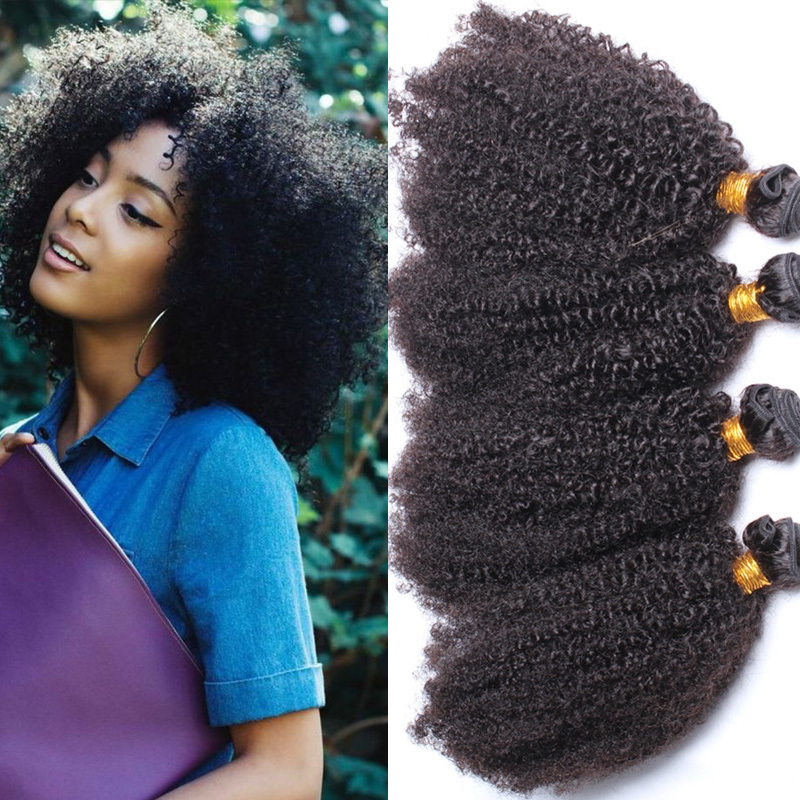 Grade 7a Afro Kinky Curly Human Hair Weaving For Black Womenblowout