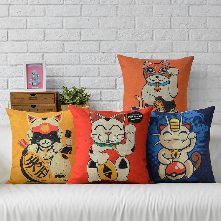 Lucky cat fortune cat  pillow , Cartoon cushion ,Linen pillowcase, Red cushion home wedding decoration sofa cushion