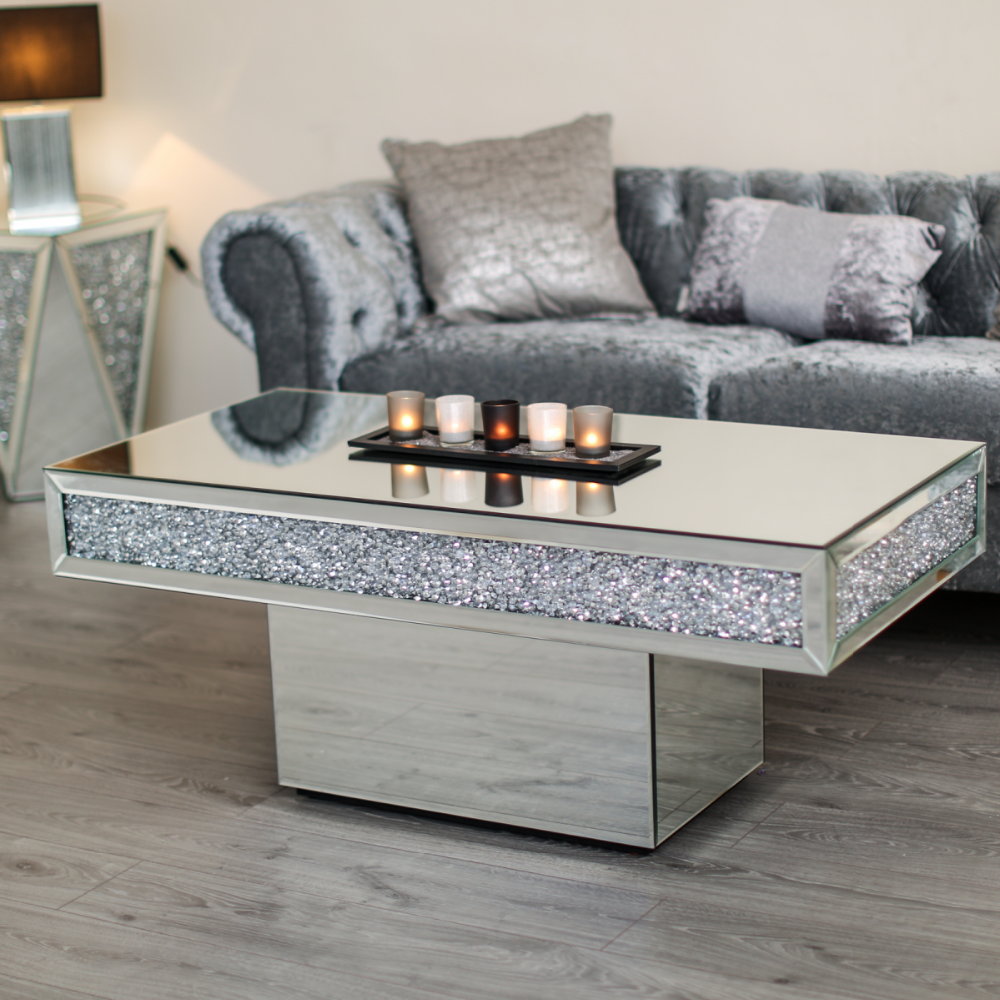 Sparkle Furniture Diamond Crushed Mirrored Center Coffee Table High Quality Rectangle Skinny Antique Silver