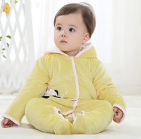 2016 new arrival long sleeve yellow thick baby romper for winter hot sale Infant clothing and toddlers clothing