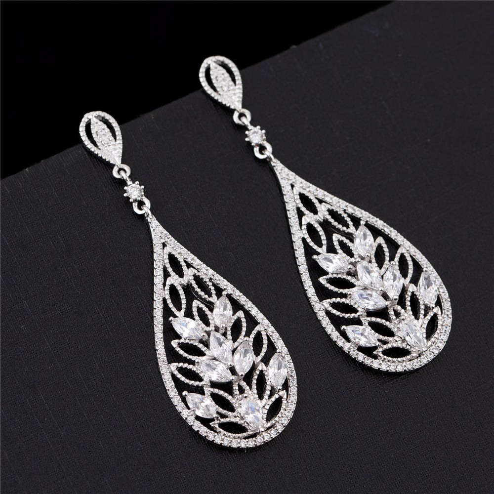 hot sale new designs wholesale factory price stud bride gift beauty girls cz bridal earrings