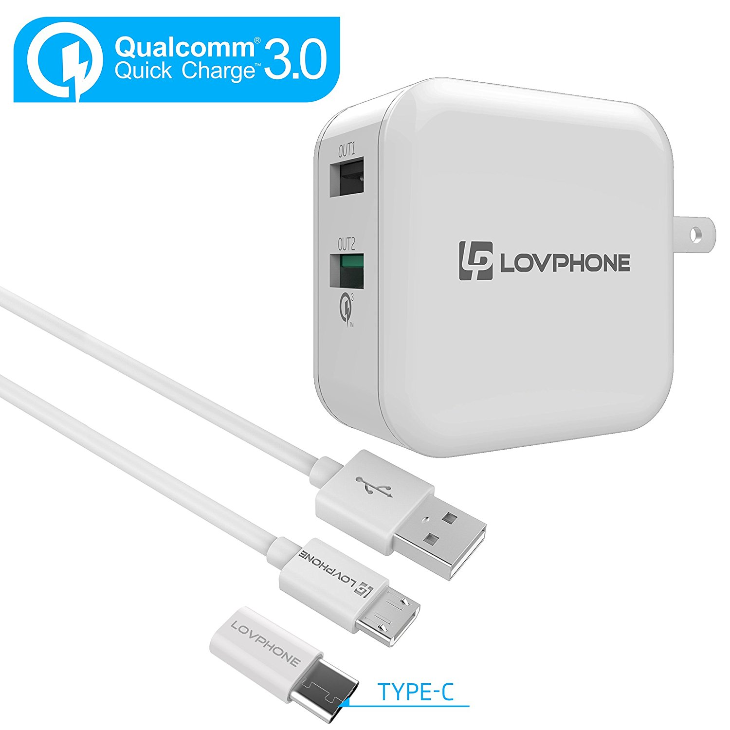 Wall Charger Adapter Set / Travel Charger Quick Charge 3.0 Fast Charge - LOVPHONE 2-Port Dual USB Travel Charger Adapter[Quick Charge 2.0 Compatible]-White Set with Micro USB Cable and Type-C adapter