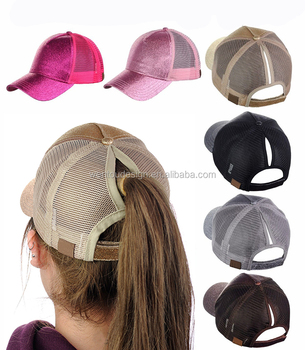 Wholesale Adjustable Messy High Bun Glitter Ponytail Hat - Buy ... 9beb5192b40