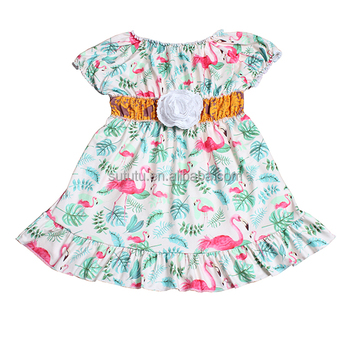 24c684616ab09 Sue Lucky baby girl clothes online clothing factory alibaba flamingo cotton  dress