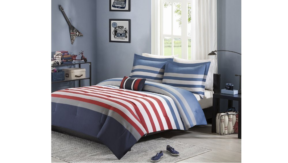 3pc Twin / Twin XL Grey Blue Red Striped Comforter Set, Modern Circuit Design, Vibrant Colorful Rugby Stripes Bedding Boys, Gray Horizontal Pattern, Rectangle Blocks Patchwork Sports Themed