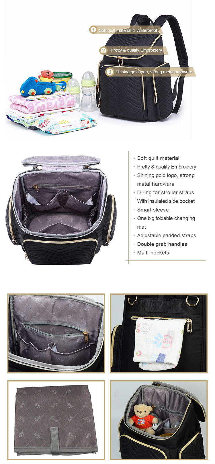 Multifunctional Large Diaper Backpack Fashion Quilted Maternity Ruck sack Black for Mums with Insulated Cooler Pockets