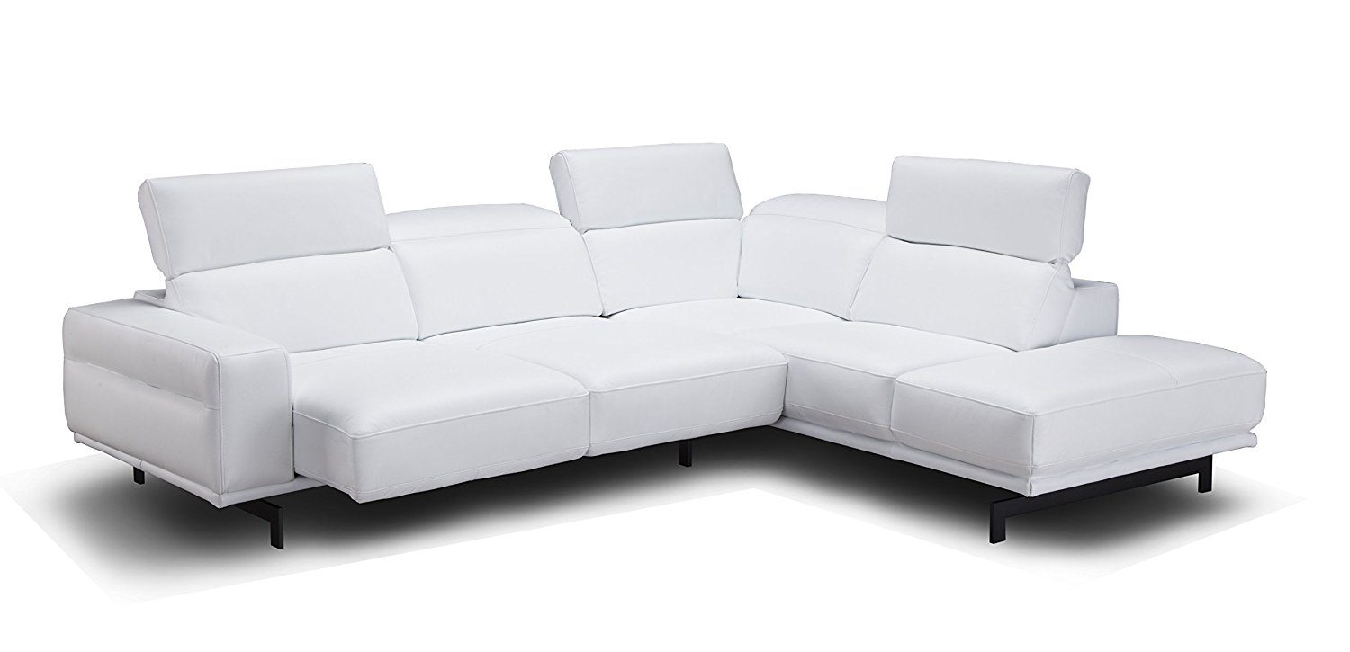 J and M Furniture 17988-RHFC Davenport Snow White Rhf Chaise Premium Leather Sectional Sleeper