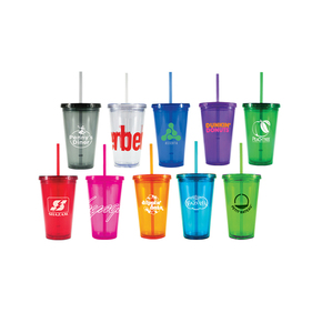 12oz Double Wall Plastic Straw Cup/ hot sale tumbler with straw