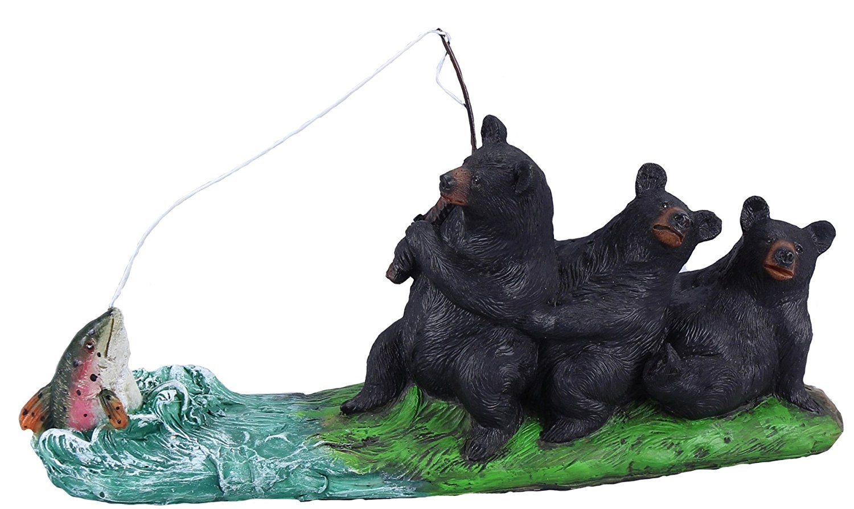 Young's The Big Catch Bears Fishing Figurine, 11.75-Inch