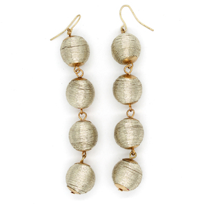 Fashion Colorful Alloy Drop Chain Thread Cord Silver Ball Earrings