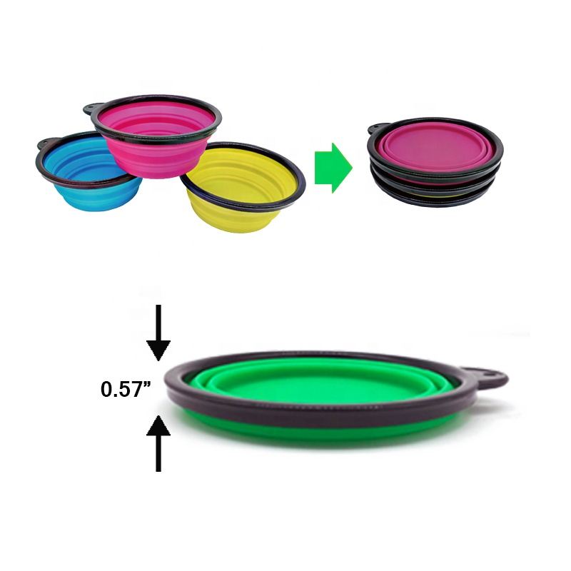 Foldable <strong>dog</strong> <strong>bowl</strong>, food grade BPA free, collapsible expandable cup cutlery pet <strong>dog</strong> cat food water cutlery portable travel <strong>bowl</strong>