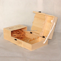 Fashion High Quality Natural wood wine 2 bottles shape box