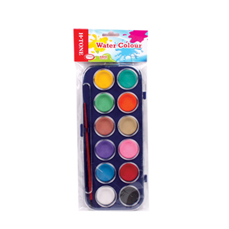 SET OF 12 WATERCOLOUR PAINTS ASSORTED COLOURS