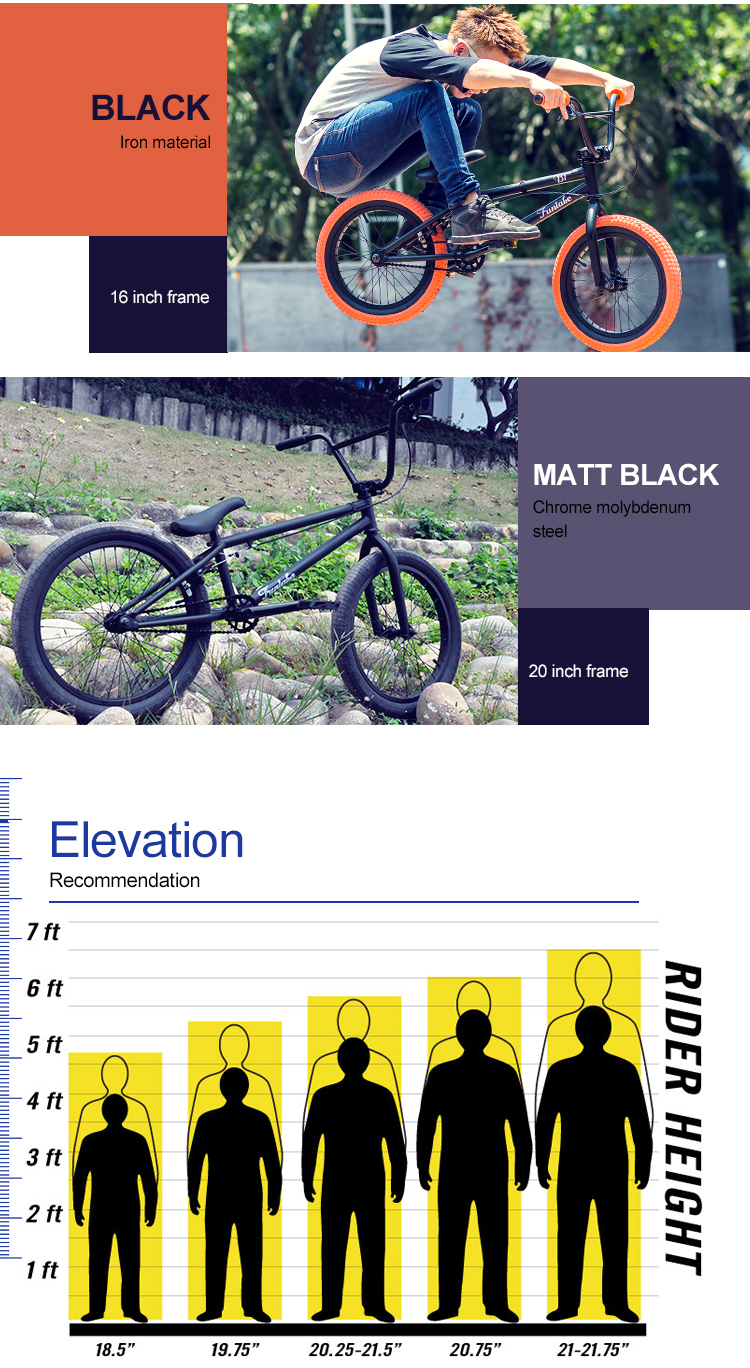 Professional OEM ODM design all kind of cheap price matt black freestyle race bisiklet cycles bmx bicycle bikes bmx 20''